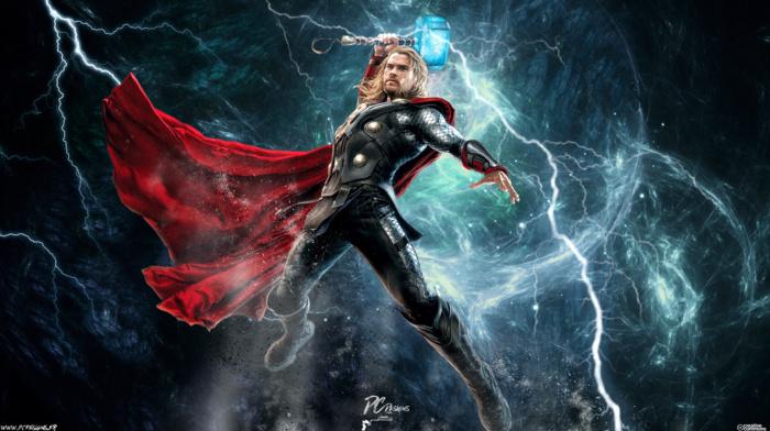 Marvel Comics, Chris Hemsworth, Thor, lightning, Mjolnir, comics