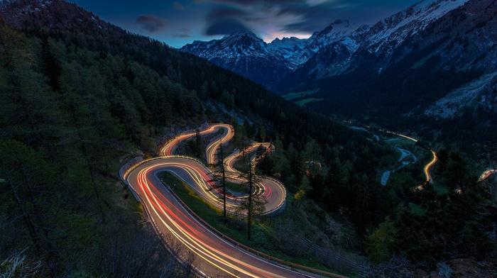 sunset, landscape, mountain, Switzerland, traffic lights, road, nature, snowy peak, forest, mist, lights