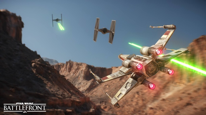 dogfights, Tatooine, x, wing, Star Wars Battlefront, dogfight, Star Wars, TIE Fighter