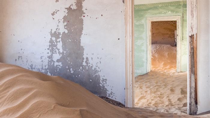 door, abandoned, room, building, sand