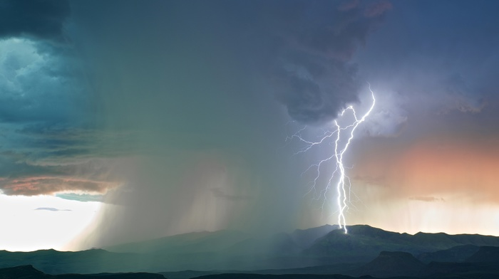 landscape, storm, nature, lightning