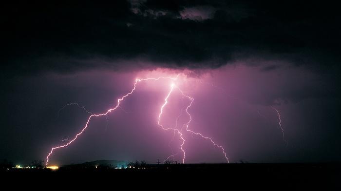 storm, landscape, lightning, nature