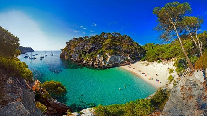 sea, Spain, trees, island, boat, sand, landscape, beach, nature
