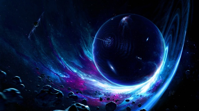 wormholes, asteroid, planet, artwork, digital art, space, space art