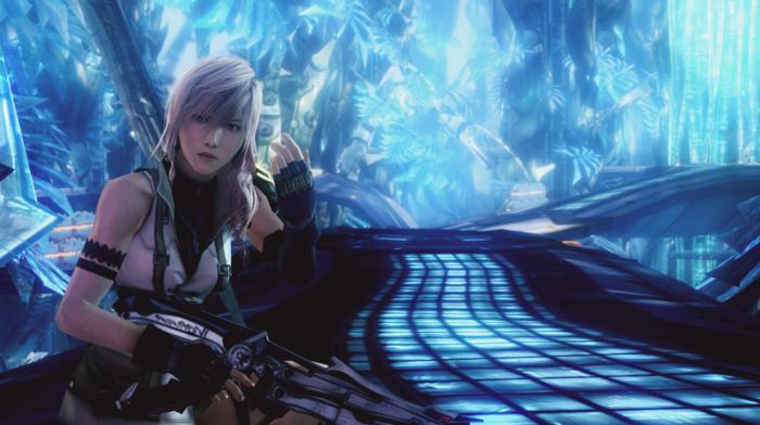 video games, Final Fantasy XIII, long hair, Claire Farron, weapon