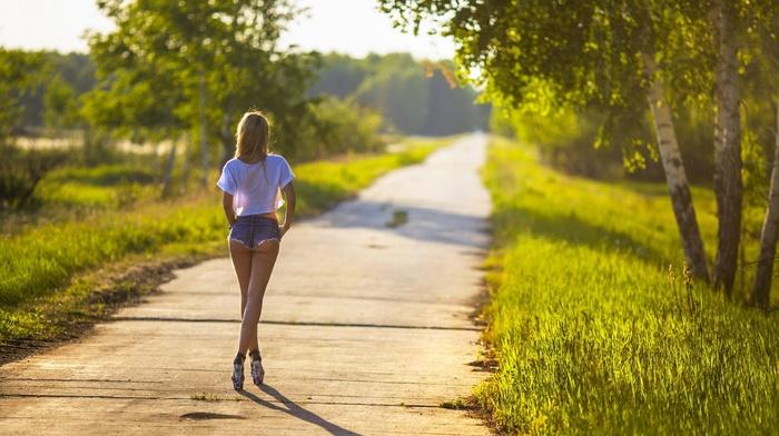 blonde, path, girl, heels, jean shorts, grass, model, ass, girl outdoors