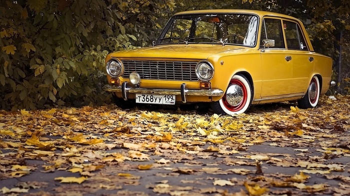 vintage, trees, nature, fall, vehicle, Lada 2101, Russian cars, tuning, leaves, car