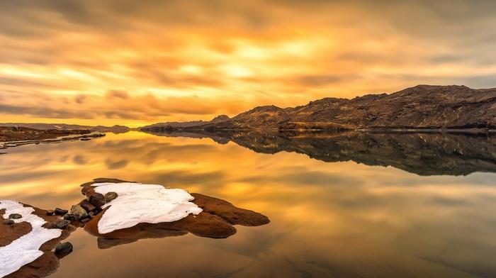 sunset, long exposure, horizon, clouds, sea, water, landscape, reflection, rock, stones, snow, nature