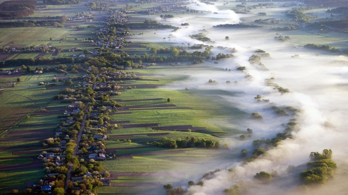 aerial view, villages, mist, landscape, field, morning, road, nature, Ukraine