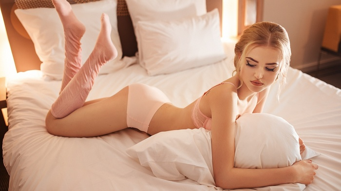 blonde, bedrooms, Ivan Gorokhov, girl, in bed, model, legs, lingerie, bent over, ass, bed, socks, panties, Alla Emelyanova