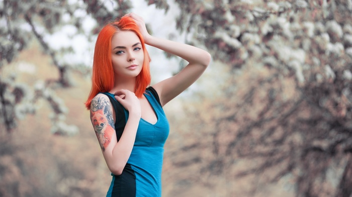 redhead, fox, tattoo, depth of field, looking at viewer, dress, pale, model, blue eyes, girl