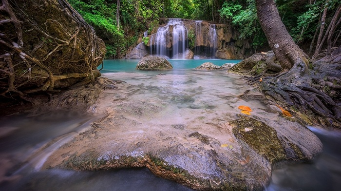 waterfall, turquoise, tropical, forest, nature, roots, landscape, Thailand, foliage, green