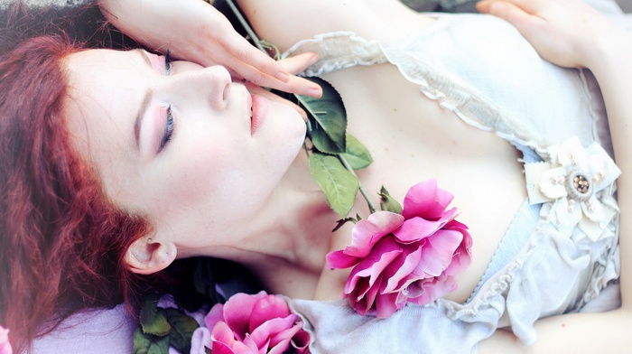 face, flowers, redhead, rose, plants, girl