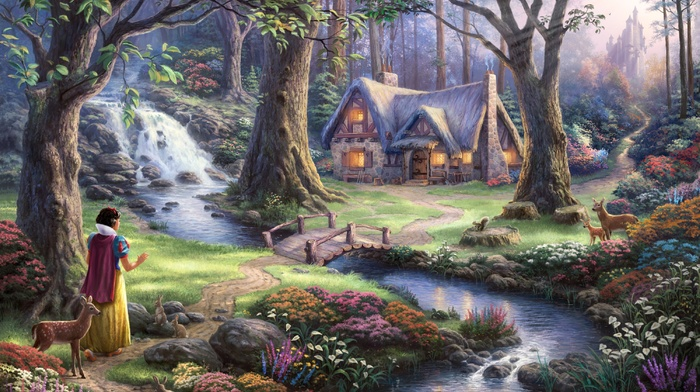 artwork, lights, Snow White, castle, flowers, deer, stream, trees, path, fairies, fantasy art, bridge, rabbits, sun rays, animals, Thomas Kinkade, house, painting, waterfall, forest