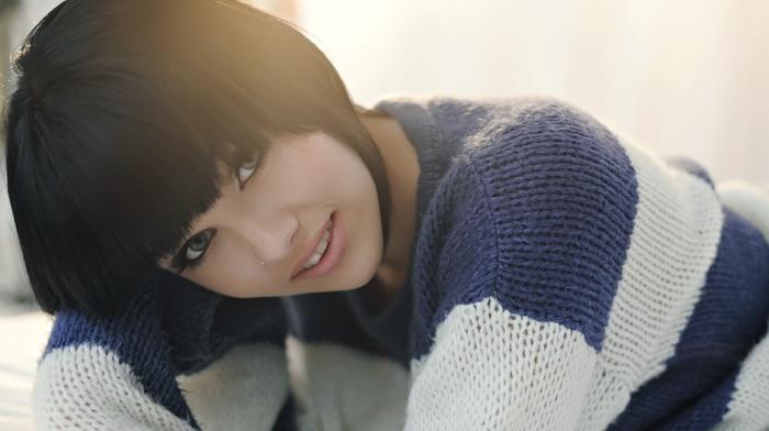 model, brunette, blue eyes, sweater, girl, Melissa Clarke, face