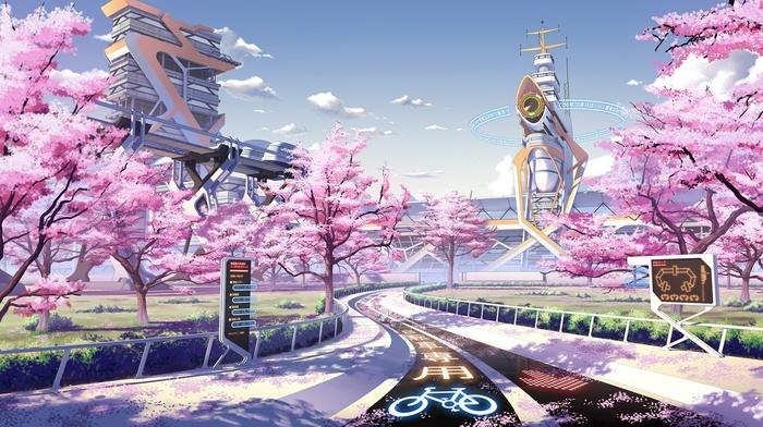 Culture Japan, cherry blossom, spring, seasons, futuristic