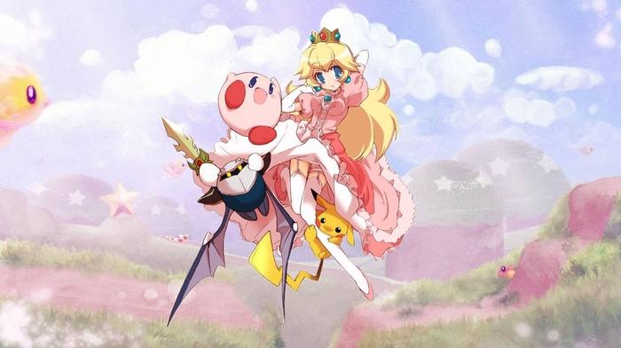 Pikachu, Super Smash Brothers, Kirby, Princess Peach