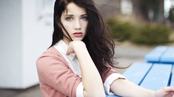 looking at viewer, emily rudd, face, sensual gaze, windy, hair in face, long hair, hands on head