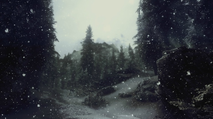 snow, forest, sky, winter, road, forest clearing