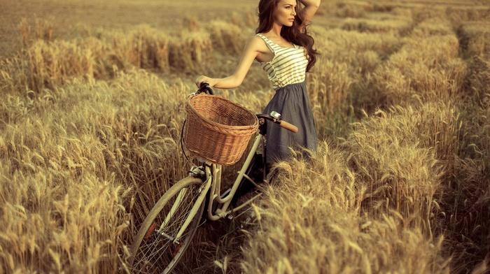 trees, long hair, tank top, spikelets, bicycle, grain, model, bare shoulders, nature, girl, girl outdoors, skirt, looking away, field, hands in hair, Eliza Michalczyk, brunette