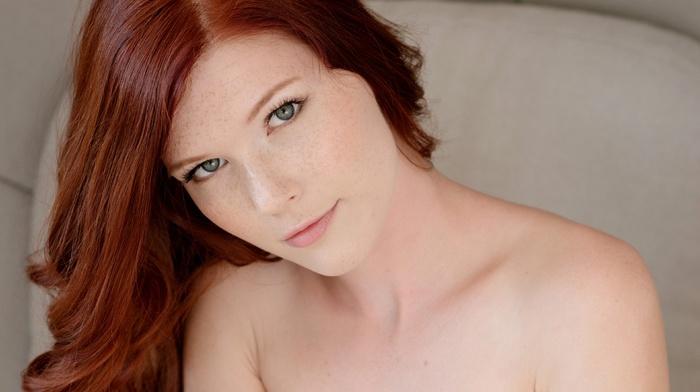 girl, redhead, Mia Sollis, long hair, freckles, face, hazel eyes