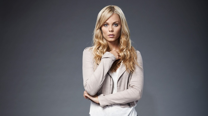 blue eyes, long hair, girl, blonde, gray background, simple background, Laura Vandervoort, open mouth, looking at viewer, sweater, actress