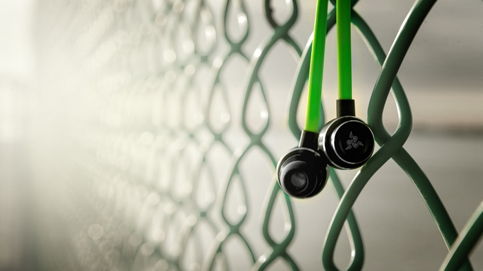 Razer Adaro, technology, fence, macro, green, hi, tech, companies, music, photography, blurred, razer, depth of field, headsets