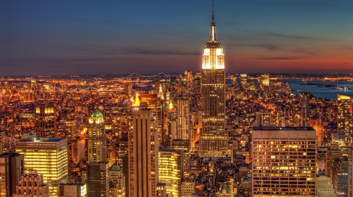 night, cityscape, lights, USA, New York City, empire state building, city
