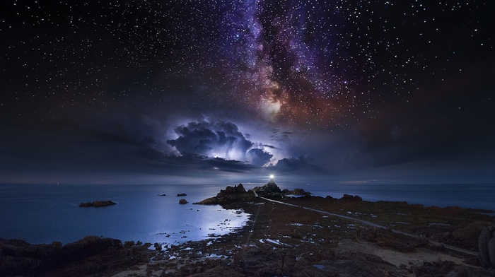nature, coast, lighthouse, space, storm, long exposure, Milky Way, starry night, sea, landscape, clouds