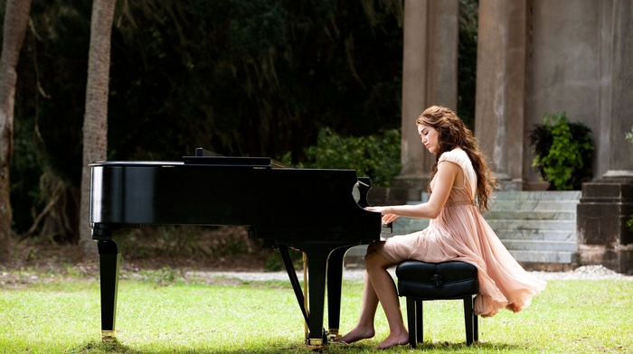 piano, girl, sitting, long hair, trees, brunette, grass, playing, Miley Cyrus, barefoot, dress, girl outdoors, singer