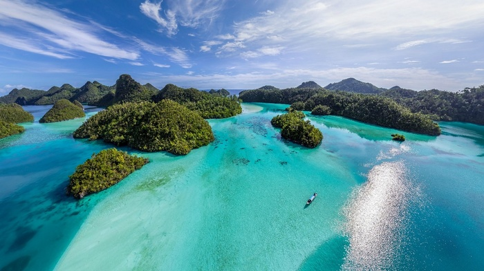 water, island, sea, aerial view, beach, clouds, summer, nature, turquoise, tropical, landscape, Indonesia