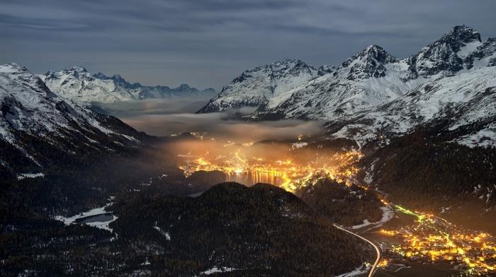 valley, landscape, mist, lights, mountain, cityscape, Switzerland, nature, forest, snowy peak