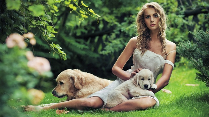 curly hair, white dress, girl outdoors, nature, puppies, dress, blue eyes, dog, girl, animals