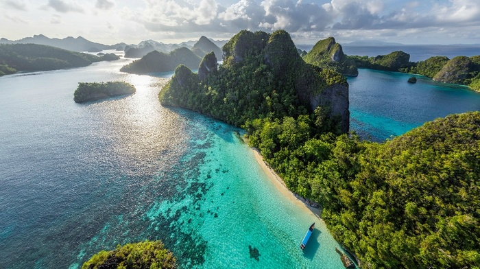 water, landscape, tropical, rock, island, beach, aerial view, limestone, Indonesia, clouds, forest, sea, nature