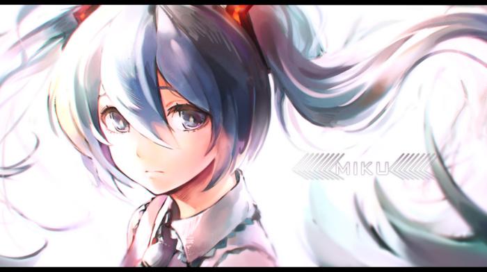 anime girls, twintails, face, blue hair, blue eyes, bangs, tie, Vocaloid, long hair, Hatsune Miku, hair ornament
