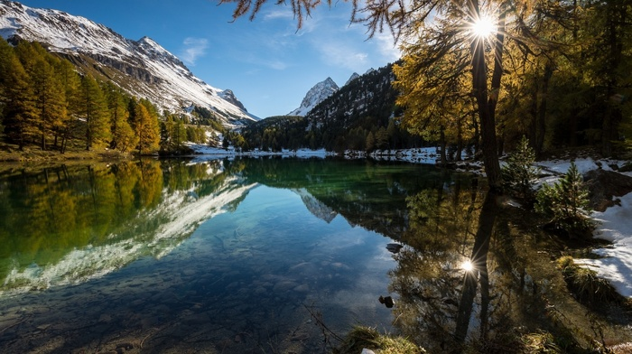 nature, water, snowy peak, mountain, lake, landscape, fall, forest, Alps, reflection, sunrise