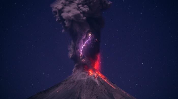 lava, eruption, stars, volcano