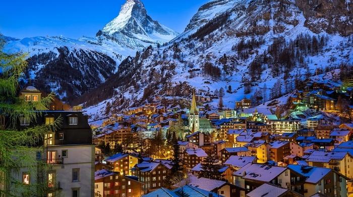 winter, trees, lights, town, snow, nature, mountain, Switzerland, rooftops, rock, church, landscape, valley, evening, house, Matterhorn, Zermatt
