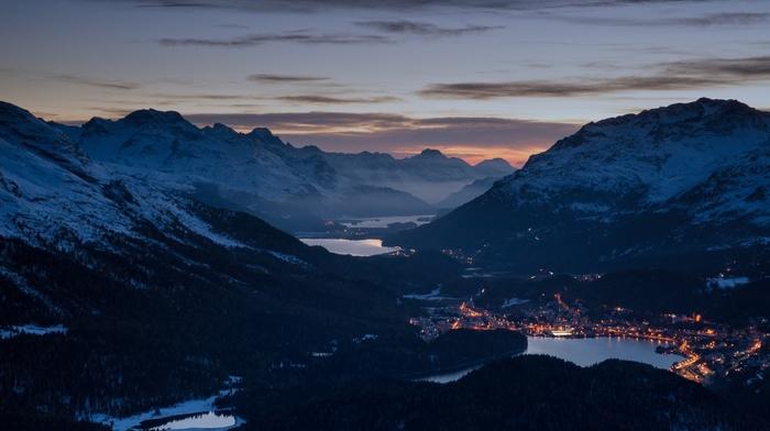 mist, winter, evening, valley, landscape, nature, lake, lights, mountain, Alps, sunset, cityscape, snowy peak, forest, Switzerland