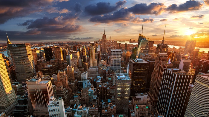 USA, sunset, building, New York City, landscape, cityscape