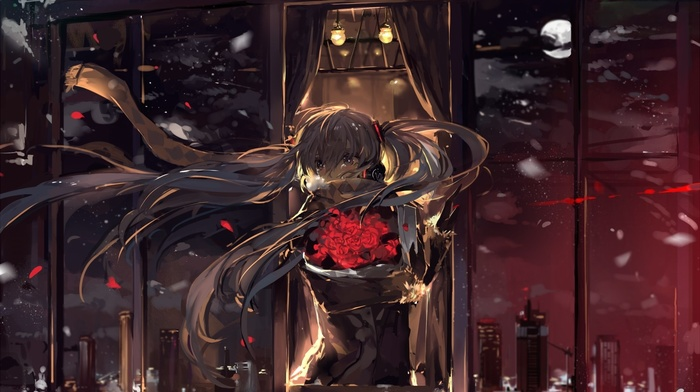 Hatsune Miku, night, twintails, anime, headphones, long hair, wind, city, anime girls, snow, flowers, Vocaloid