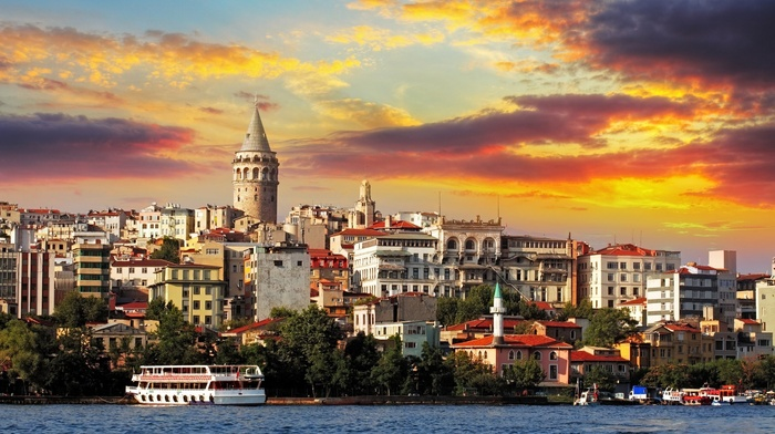Galata Kulesi, trees, sunset, cityscape, clouds, galata, tower, Turkey, ship, old building, water, architecture, building, Istanbul