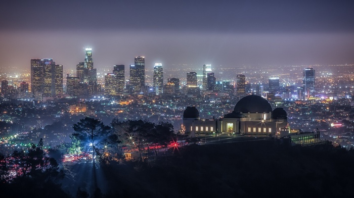 skyscraper, california, night, hill, trees, cityscape, los angeles, lights, city, USA