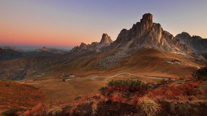 shrubs, nature, landscape, road, mountain, sunrise, mountain pass, summer