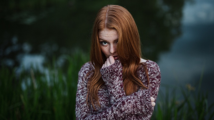 girl outdoors, girl, model, freckles, sweater, redhead, face