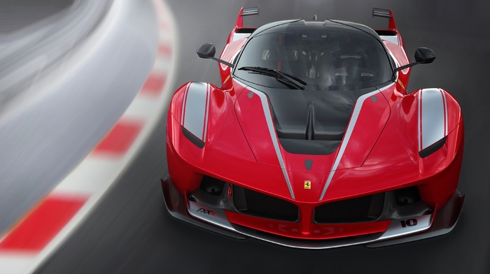 Ferrari FXXK, race tracks, motion blur, car