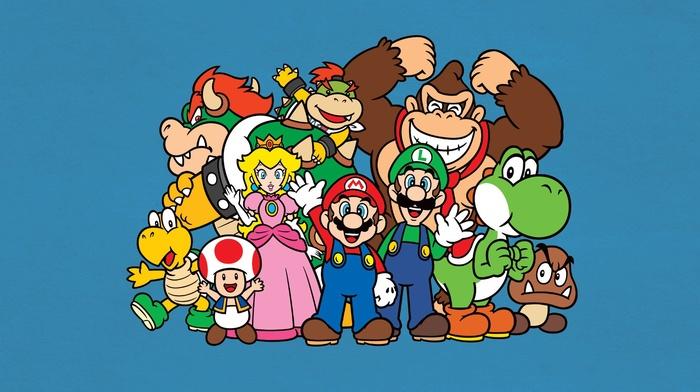 video games, Mario Bros., Toad character, Donkey Kong, Luigi, Yoshi, Nintendo, minimalism, Princess Peach