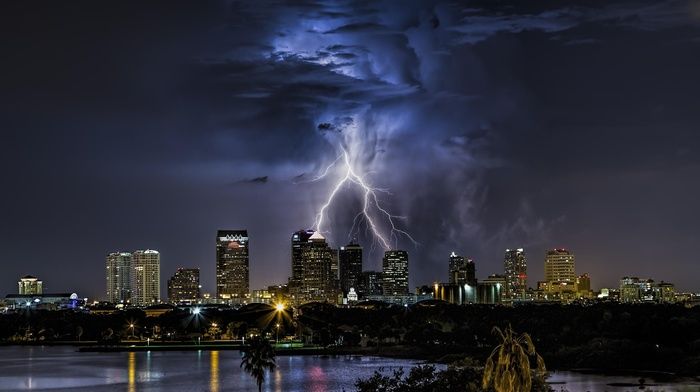 Florida, storm, night, clouds, city, cityscape, lightning, Tampa, USA, nature