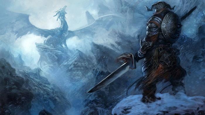 the elder scrolls v skyrim, dragon, artwork, sword, fantasy art, The Elder Scrolls
