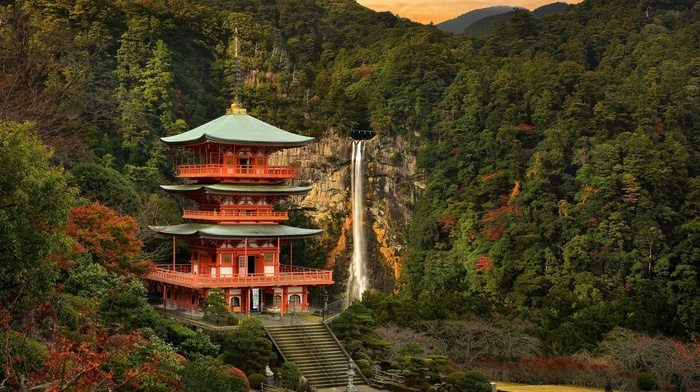 water, forest, stairs, landscape, clouds, waterfall, building, trees, sunset, nature, Japan, fall, Japanese Garden, rock, mountain, hill